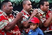 Tongan Boy And Father By Gavin Stansfeld