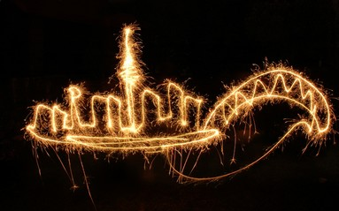 Auckland's skyline drawn with a sparkler in my backyard in Epsom