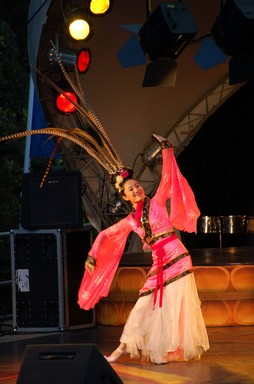 A dancer on stage at the Lantern Festival in Albert Park, 2 March 2007