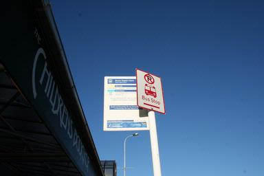 This is the bus stop sign of the bus stop in three lamps on Jervois Road.