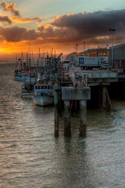 The sun sets over a fleet of fishing boats moored at the Onehunga Wharf.