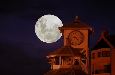 Pierre Cilliers;Clock Tower with Moon; Photographed at Gulf Harbour