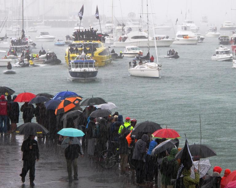 Team NZ victory parade in Auckland, on the water
