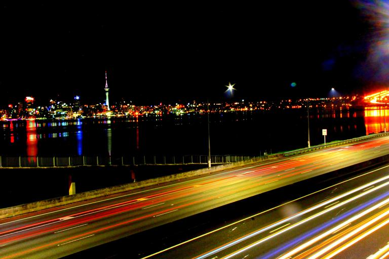 Auckland Skyline and its busy motorways.