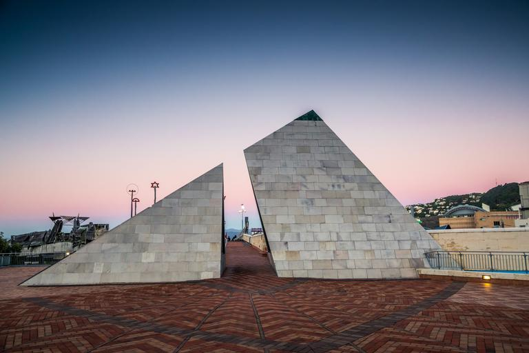 Yishang Chen; Tri Wellington; This architecture were next to the national museum at Wellington, a triangular architecture with triple colour sunset in the background.