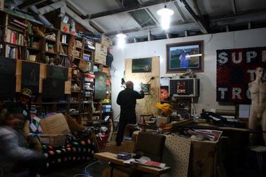 Donna Sarten;Bernie Harfleet Artist in his Studio Working Late in to the Night