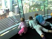 Tavia Khaine; High above Auckland for the first time; Sharni, 8mths, on her first visit to the Skytower, with her big sisters watching the jumpers, its just a phone pxt but we love it!