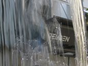 Rob Macmillan; Water Curtain; One of the fountains in Khartoum Place gives a different view of a city cafe.