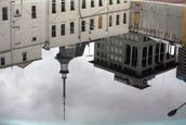 Graeme Reeves; Buildings taken from a Britomart Station voltanic cone; Spectatular skyline reflection