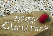 John Ling; Merry Xmas in Blockhouse Bay beachJust saw a Japanese tour_Yoshi make up a shell words' Happy Xmas'. We rearrange to 'Merry Xmas' later in Wattle Bay on Xmas day;