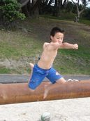 Marie Su'a; Superman in motion @ Pt Chev; Flight is not limited to the birds @ Pt Chev beach