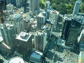 Winifred Struthers;Bungy Jump;Taken through window of Sky Tower viewing flour.