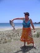 Joan Kirk; love that fish; The only fish caught in three days on Waiheke Island