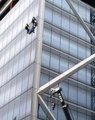 Stuart Weekes;Never too soon;Window cleaners at work on the ( incomplete ) Commercial Bay tower